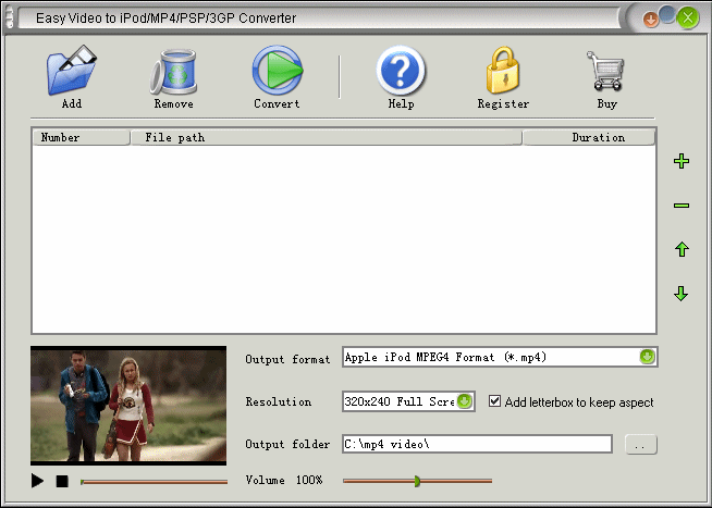 Easy Video to iPod/MP4/PSP/3GP Converter Screenshot