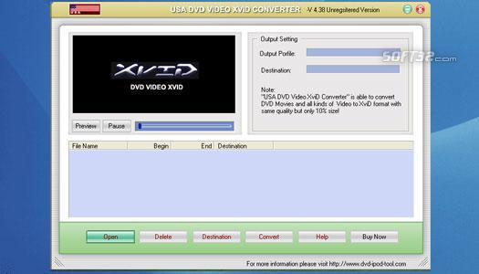 USAsoft DVD Video XviD Converter Screenshot 1