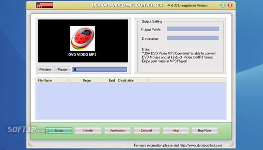 USAsoft DVD Video MP3 Converter Screenshot 1