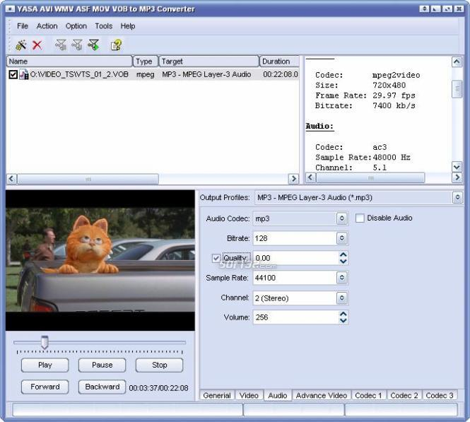 YASA AVI WMV MOV VOB to MP3 Converter Screenshot 3