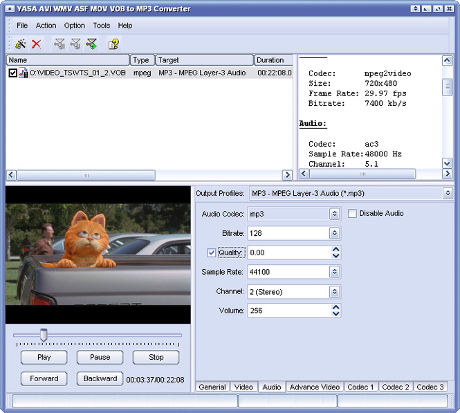 YASA AVI WMV MOV VOB to MP3 Converter Screenshot 1