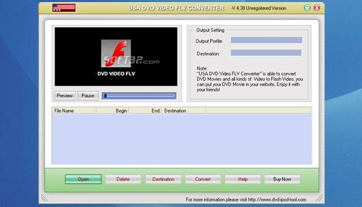 USAsoft DVD Video FLV Converter Screenshot
