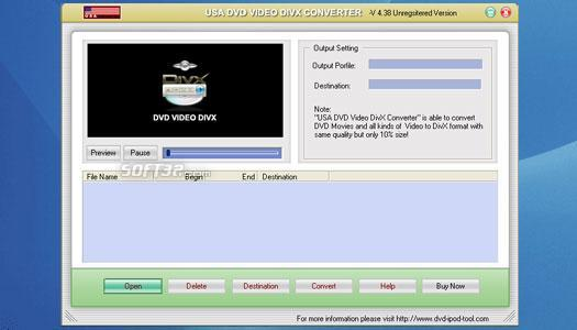 USAsoft DVD Video DivX Converter Screenshot