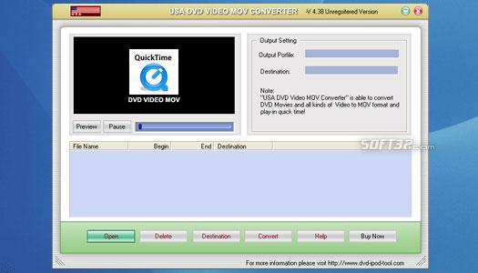 USAsoft DVD Video MOV Converter Screenshot