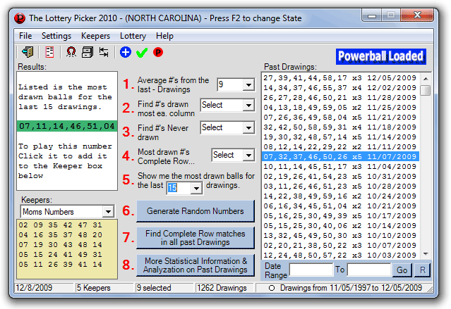 A Lottery Picker 2010 Lotto Software Screenshot