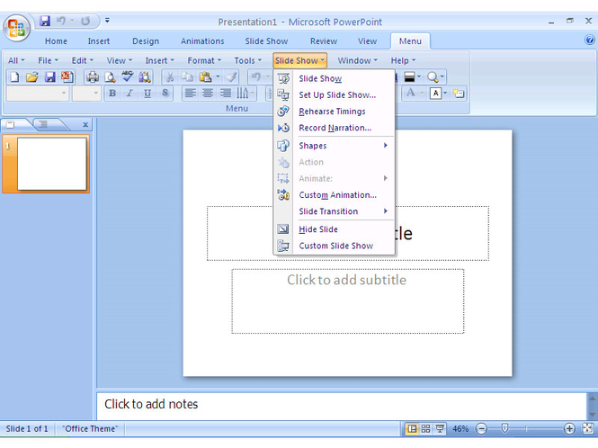 Classic Menu for PowerPoint 2007 Screenshot