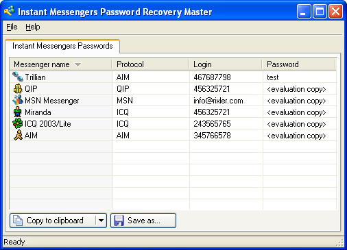 Instant Messengers Password Recovery Master Screenshot