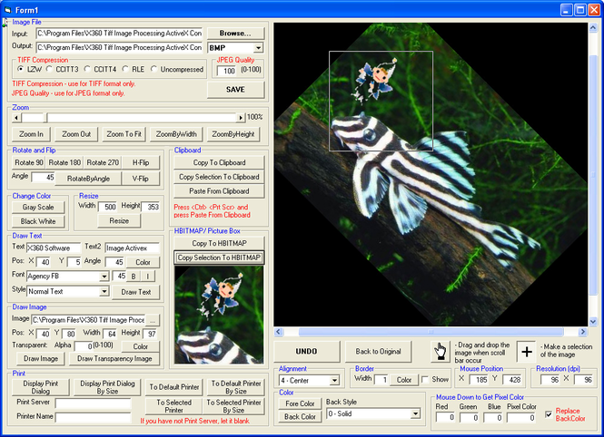 X360 Image Processing ActiveX Control Screenshot