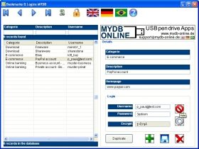 Bookmarks & Login Organizer MYDB Screenshot