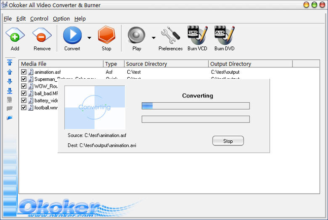 Okoker All Video Converter&Burner Pro Screenshot