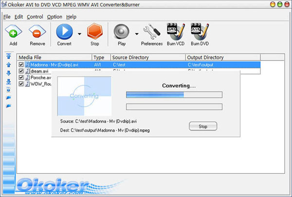 Okoker AVI to DVD MPEG Converter&Burner Screenshot