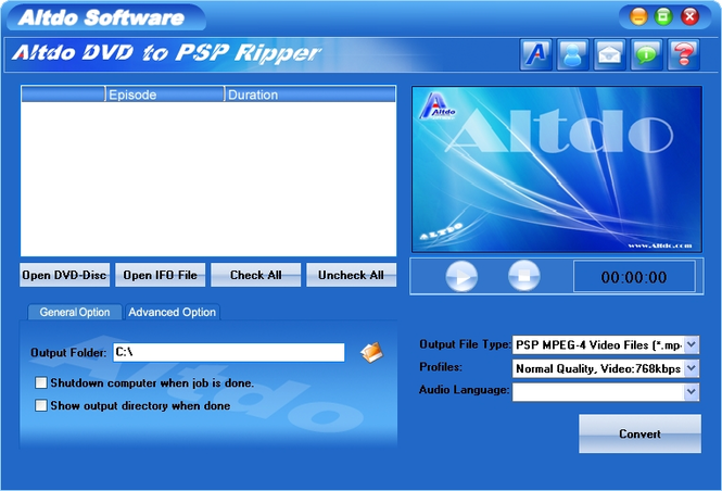 Altdo DVD to PSP Ripper Screenshot