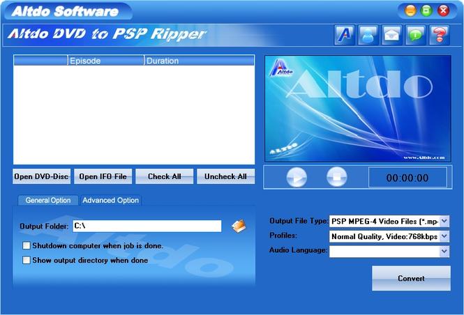 Altdo DVD to PSP Ripper Screenshot 1