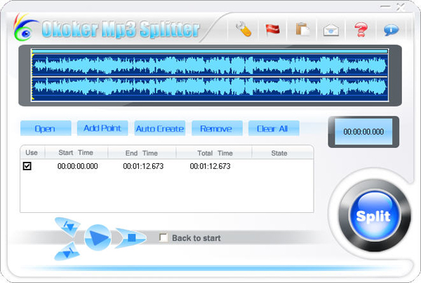 Okoker Mp3 Splitter Screenshot 1
