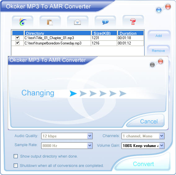 Okoker Mp3 to Amr Converter&Burner Screenshot
