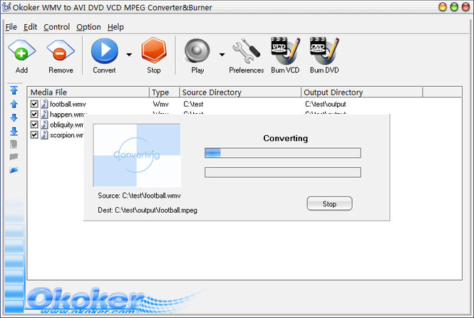 Okoker WMV to DVD MPEG Converter&Burner Screenshot