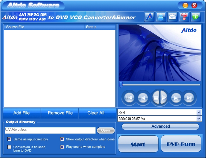 Altdo AVI MPEG RM WMV  to DVD Converter Screenshot 2