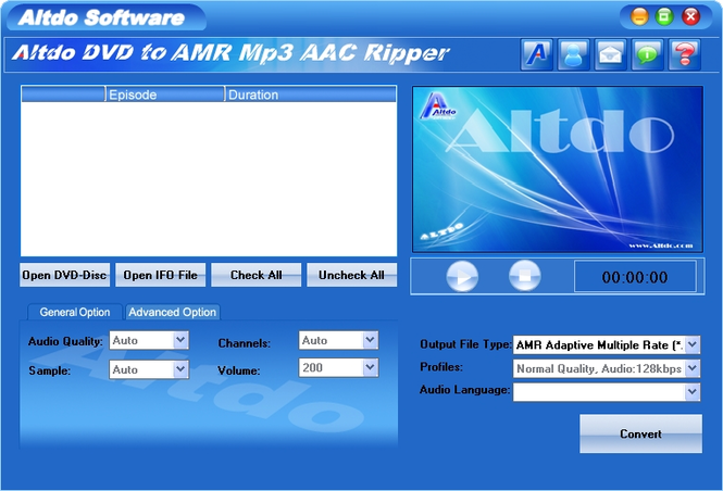 Altdo DVD to AMR MP3 AAC Ripper Screenshot 1