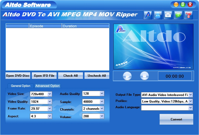 Altdo DVD to AVI MPEG MP4 MOV Ripper Screenshot