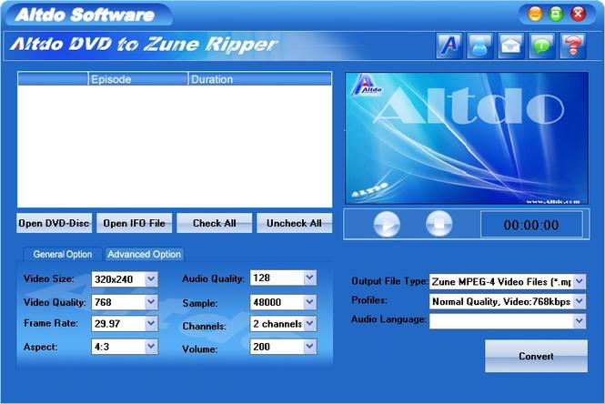 Altdo DVD to Zune Ripper Screenshot