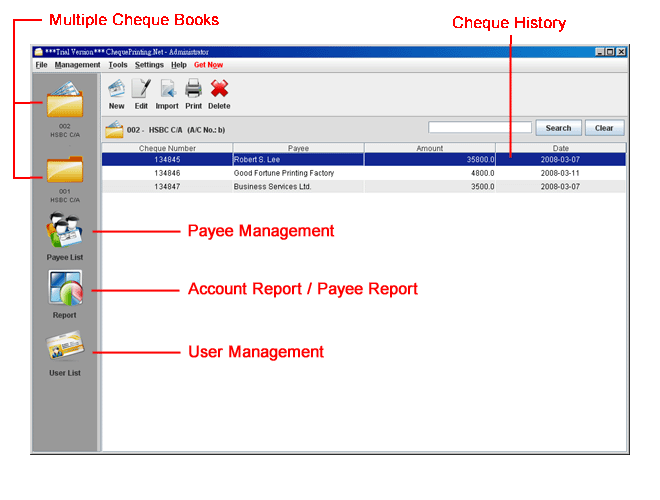 ChequePrinting.Net Software Screenshot
