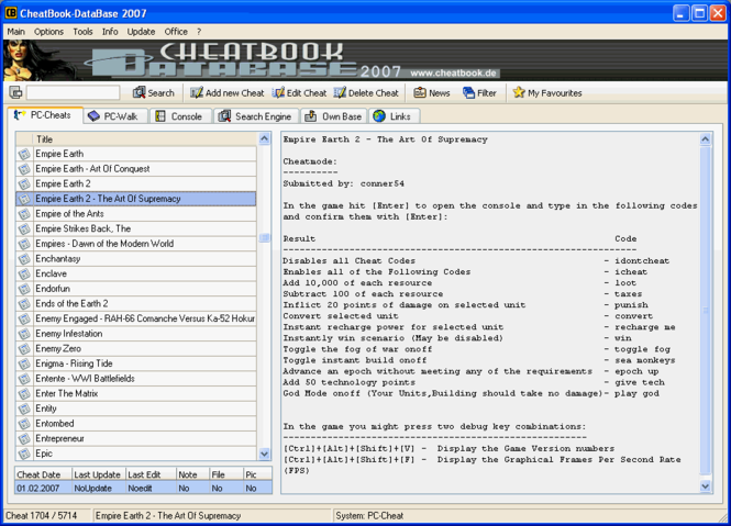 CheatBook-DataBase 2007 Screenshot