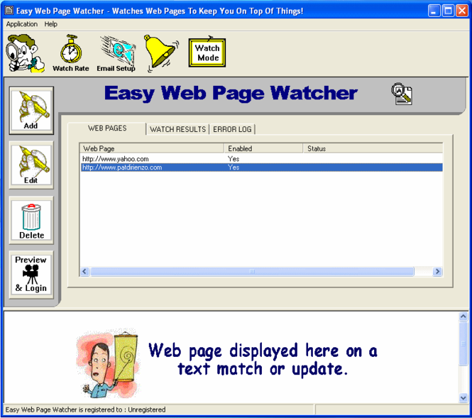 Easy Web Page Watcher Screenshot