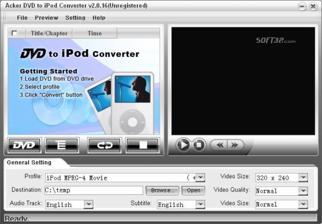 Acker DVD to iPod Converter Screenshot 2