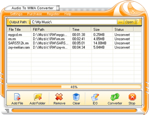 Audio To WMA Converter Screenshot