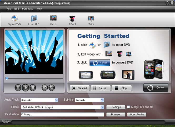Acker DVD to MP4 Converter Screenshot 1