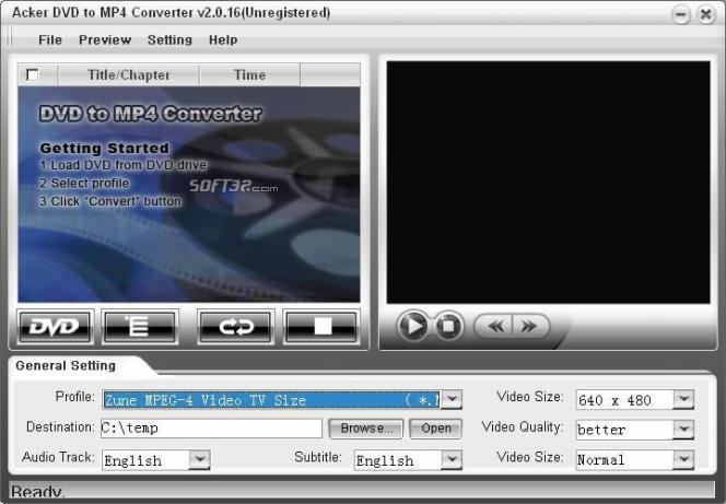 Acker DVD to MP4 Converter Screenshot 2
