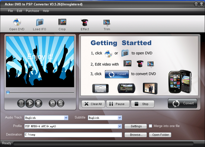Acker DVD to PSP Converter Screenshot
