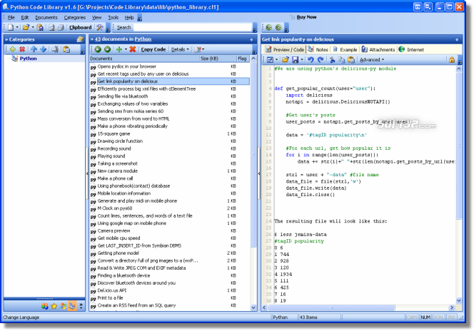 Python Code Library Screenshot 3