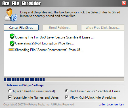 Ace File Shredder Screenshot