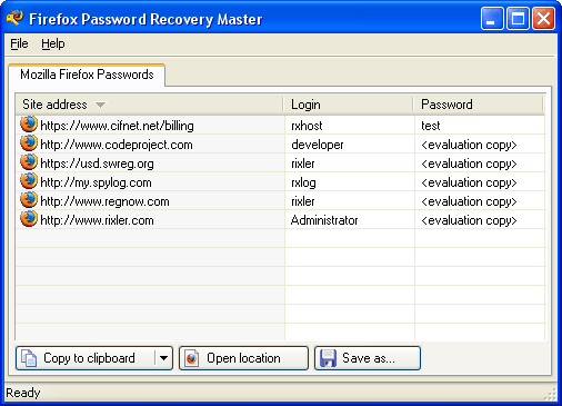 Firefox Password Recovery Master Screenshot