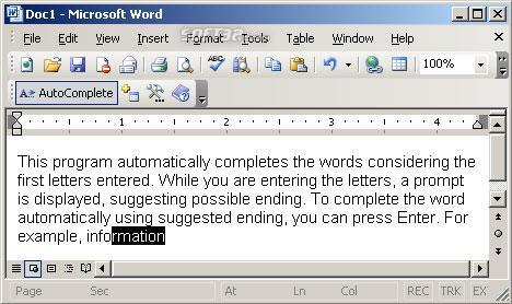 AutoComplete for MS Word Screenshot