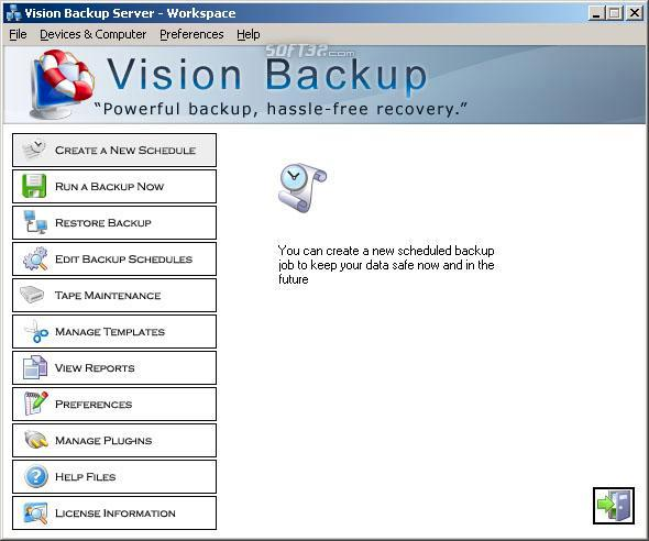 Vision Backup Server w/ MSSQL and Exchan Screenshot