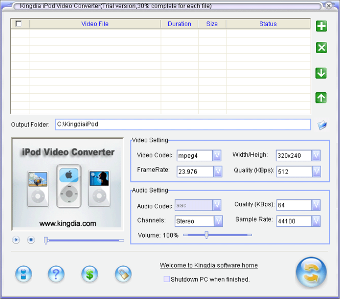 Kingdia iPod Video Converter Screenshot 1