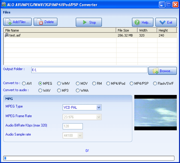 ALO AVI MPEG WMV 3GP MP4 iPod PSP Converter Screenshot