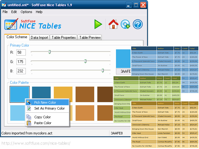 SoftFuse Nice Tables Screenshot