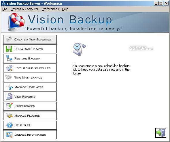 Vision Backup Home Screenshot