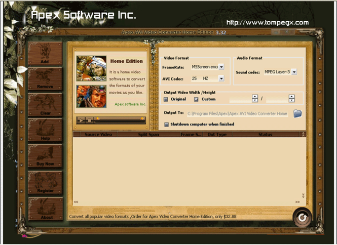 Apex AVI Video Converter Home Edition Screenshot 1
