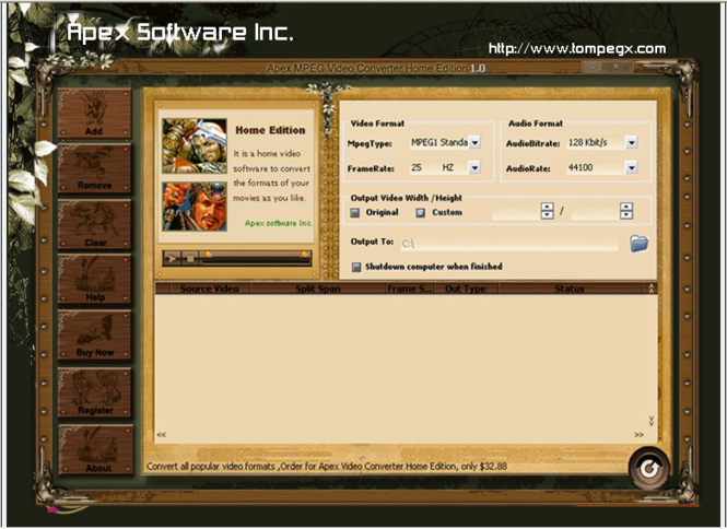 Apex MPEG Video Converter Home Edition Screenshot 1