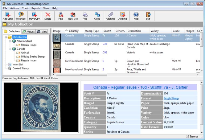 StampManage Canada Philatelic Software Screenshot