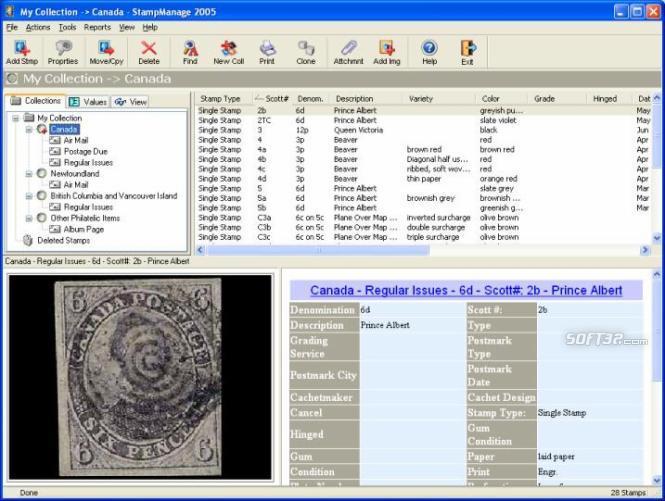 StampManage Canada Philatelic Software Screenshot 2