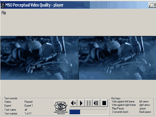 MSU Perceptual Video Quality Tool Screenshot