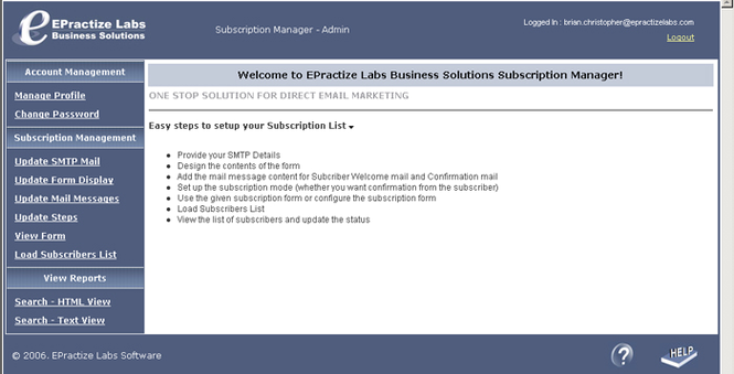 EPractize Labs Online Subscription Manager - Hosting Edition Screenshot