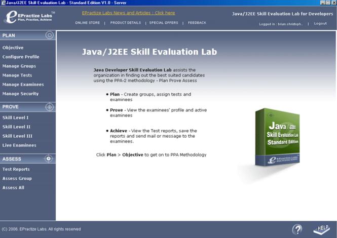 Java/J2EE Skill Evaluation Lab Screenshot