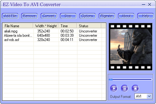 EZ Video To AVI Converter Screenshot