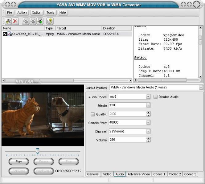 YASA AVI WMV MOV VOB to WMA Converter Screenshot 3